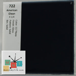 "MMT-722 Vintage 4 1/4"" Ceramic 1 pc Wall Tile AO 117 Navy Blue Glossy"