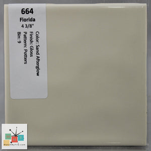 "MMT-664 Vintage 4 3/8"" Ceramic 1 pc Wall Tile FT Sand Afterglow Potters Glossy"