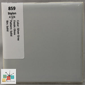 "MMT-859 Vintage 4 1/4"" Ceramic 1 pc Wall Tile Stylon Silver Gray Glossy"