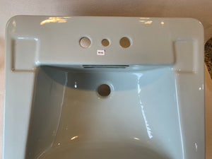 "BS-58 NOS Vintage Rheem Richmond Ceramic Sand Gray Lavatory Sink 19x19 1/2"" Square Drop In"