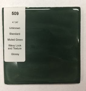 "MMT-509 4 1/4"" Ceramic 1 pc Tile Deep Forest Green Potters Glossy Wavy"