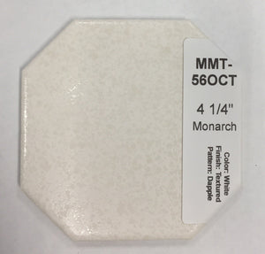 "MMT-56OCT Vintage 4 1/4"" Ceramic Wall Tile Monarch White Dapple Octagon Crystal"