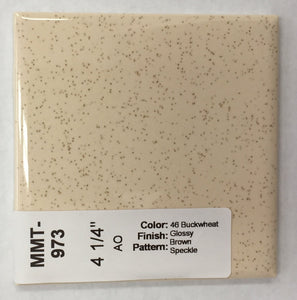 "MMT-973 Vintage 4 1/4"" Ceramic 1 pc Tile AO #46 Buckwheat Brown Speckled Glossy"