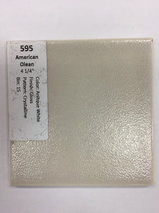 "MMT-595 Vintage 4 1/4"" Ceramic 1 pc Wall Tile AO White Crystalline Glossy"