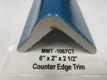 "Load image into Gallery viewer, MMT-1067CT (Special) 6"" x 2"" x 2 1/2"" Counter Edge Trim Crystal Blue Dal Tile"