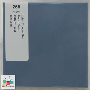 "MMT-266 Vintage 4 1/4"" Ceramic 1 pc Wall Tile Trooper Blue Glossy"