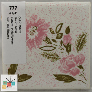 "MMT-777 Vintage 4 1/4"" Ceramic 1 pc Wall Tile White Pink Pattern Glossy"