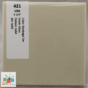 "MMT-421 Vintage 4 1/4"" Ceramic 1 pc Wall Tile USA Tan Glossy"