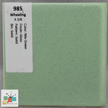 "Load image into Gallery viewer, MMT-985CB Vintage 4 3/8"" Ceramic 1 pc Tile Wheeling Nile Green Glossy Corner"