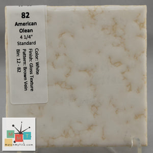 "MMT-82 Vintage 4 1/4"" Ceramic 1 pc Wall Tile AO White Brown Vein Glossy Texture"