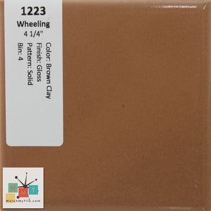 "MMT-1223 Vintage 4 1/4"" Ceramic 1 pc Wall Tile Wheeling Brown Clay Brown Glossy"