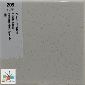 "MMT-209 Vintage 4 1/4"" Ceramic 1 pc Wall Tile Off-White Gold Speckled Glossy"