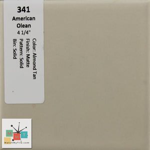 "MMT-341 Vintage 4 1/4"" Ceramic 1 pc Wall Tile AO Almond Tan Matte"