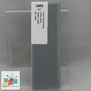 "MMT-1003B Vintage 2x6"" Ceramic 1 pc Wall Tile Drizzle Gray Glossy Bullnose"
