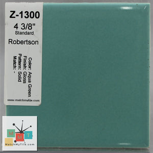 "MMT-1300 Vintage 4 3/8"" Ceramic 1 pc Wall Tile Aqua Green Glossy"