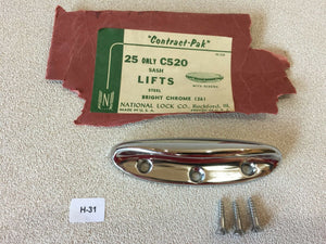 H-31 Sash Lift Industrial Polished Chrome NOS Vintage Drawer Pull National