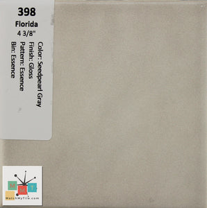 "MMT-398 Vintage 4 3/8"" Ceramic 1 pc Wall Tile FT Seedpearl Gray Essence Glossy"