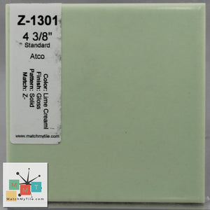 "MMT-1301 Vintage 4 3/8"" Ceramic 1 pc Wall Tile Lime Cream Green Glossy"