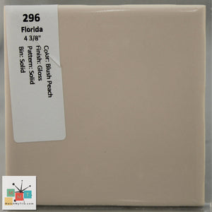 "MMT-296 Vintage 4 3/8"" Ceramic 1 pc Wall Tile FT Blush Peach Glossy"
