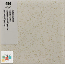 "Load image into Gallery viewer, MMT-456B Vintage 4 1/4"" Ceramic 1 pc Tile White Gold Speckled Glossy Bullnose"