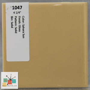 "MMT-1047 Vintage 4 1/4"" Ceramic 1 pc Wall Tile Sahara Sun Yellow Glossy"