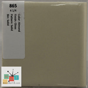 "MMT-865 Vintage 4 1/4"" Ceramic 1 pc Wall Tile Almond Tan Glossy"
