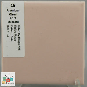 "MMT-15V Vintage 4 1/4"" Ceramic 1 pc Wall Tile AO Hydrangea Pink Matte Cove"