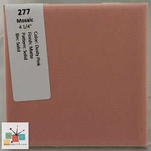 "MMT-277 Vintage 4 1/4"" Ceramic 1 pc Wall Tile Mosaic Dusty Pink Matte"