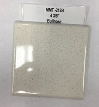 "Load image into Gallery viewer, MMT-212B Vintage 4 3/8"" Ceramic 1 pc Tile FT White Gold Speckled Glossy Bullnose"
