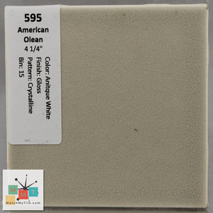 "MMT-595O Vintage 4 1/4"" Ceramic 1 pc Wall Tile AO White Crystal Glossy Octagon"