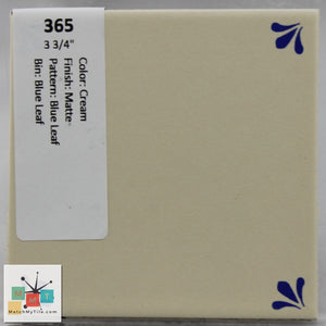 "MMT-365 Vintage 3 3/4"" Ceramic 1 pc Wall Tile Cream Blue Leaf Matte"