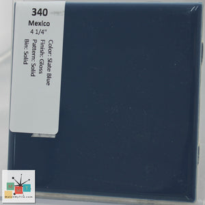 "MMT-340B Vintage 4 1/4"" Ceramic 1 pc Wall Tile Mexico Slate Blue Glossy Bullnose"