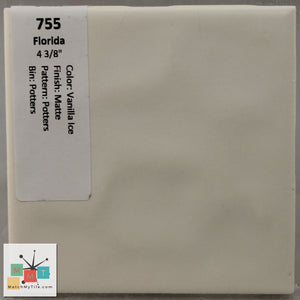 "MMT-755 Vintage 4 3/8"" Ceramic 1 pc Wall Tile FT Vanilla Ice Potters Matte"