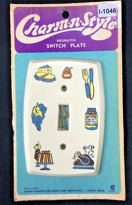 I-1046 1 Nos Vintage Mcm Light Switch Plate Single Toggle Cover Plastic Cute