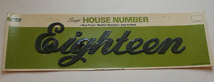 Vintage NOS Black Retro Plastic Leigh House Address Number Script Eighteen 18