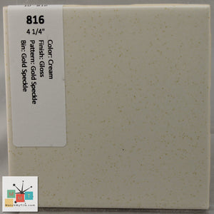 "MMT-816 Vintage 4 1/4"" Ceramic 1 pc Wall Tile Cream Gold Speckled Glossy"