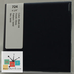 "MMT-724 Vintage 4 1/4"" Ceramic 1 pc Wall Tile Black Ink Blue Glossy"
