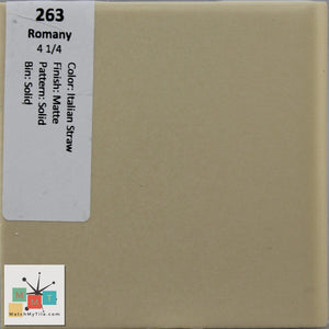 "MMT-263 Vintage 4 1/4"" Ceramic 1 pc Wall Tile Romany Straw Brown Matte"