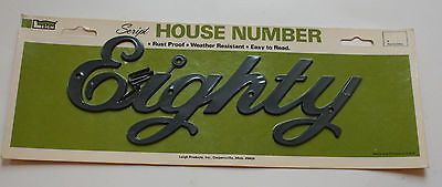 Vintage NOS Retro Plastic Leigh House Address Number Script Number Eighty 80