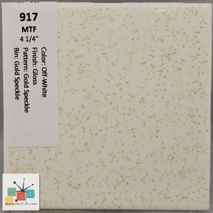 "MMT-917 Vintage 4 1/4"" Ceramic 1 pc Wall Tile MTF OffWhite Gold Speckled Glossy"