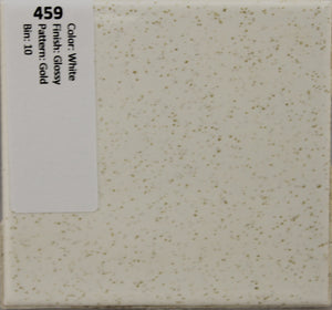 "MMT-459 Vintage 4 1/4"" Ceramic 1 pc Wall Tile White Speckle Gold Glossy"