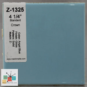 "MMT-1325CB Vintage 4 1/4"" Ceramic 1 pc Tile Angel Blue Glossy Corner Bullnose"