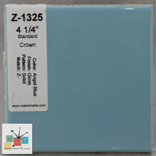 "Load image into Gallery viewer, MMT-1325B Vintage 4 1/4"" Ceramic 1 pc Wall Tile Angel Blue Glossy Bullnose"