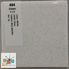 "Load image into Gallery viewer, MMT-484A Vintage 2"" Ceramic 1 pc Tile Crown White Blue Speck Gloss Angled Edge"