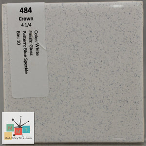 "MMT-484A Vintage 2"" Ceramic 1 pc Tile Crown White Blue Speck Gloss Angled Edge"