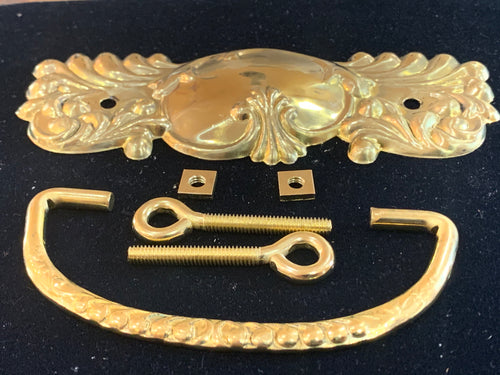 H-200 1 Vintage Drawer Pull Handle Victorian Fancy Stamped Brass 4 3/4