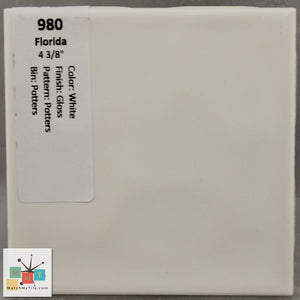 "MMT-980 Vintage 4 3/8"" Ceramic 1 pc Wall Tile FT White Potters Glossy"