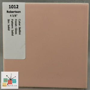"MMT-1012 Vintage 4 3/8"" Ceramic 1 pc Wall Tile Robertson Bellini Pink Glossy"
