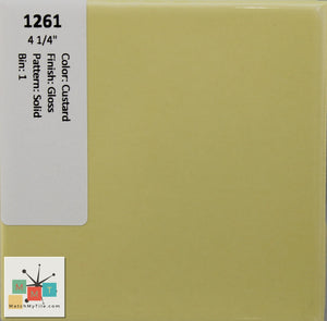 "MMT-1261 Vintage 4 1/4"" Ceramic 1 pc Wall Tile Custard Yellow Glossy"