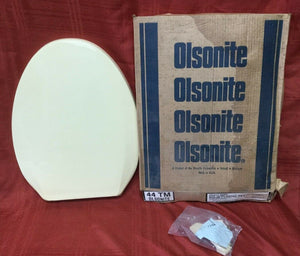 TS-45 NOS Olsonite Toilet Seat wLd Fnch Vanilla #44 Regular Bowl Top Mount Hinge